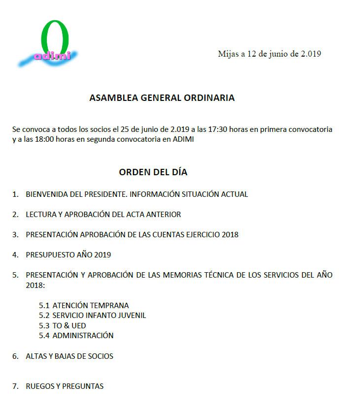 Asamblea Ordinaria de Socios día 25 de Junio de 2019